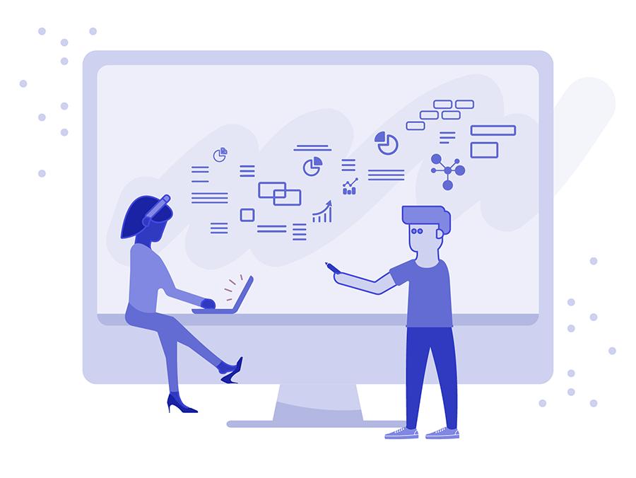 Illustration of designers studying design trends
