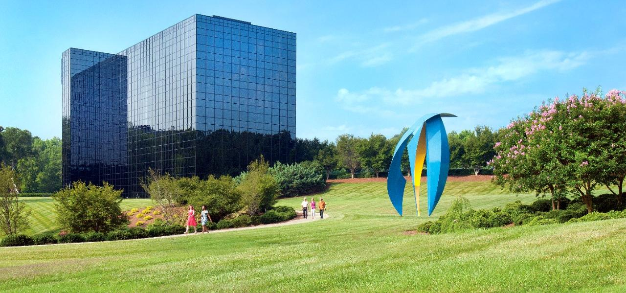 Backdrop of SAS campus headquarters in Cary, NC