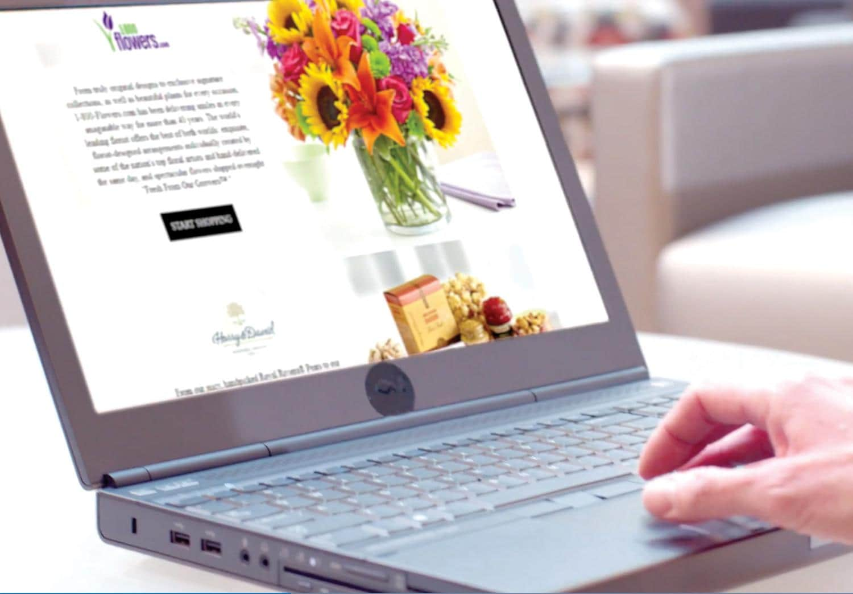 1-800 Flowers web site on laptop