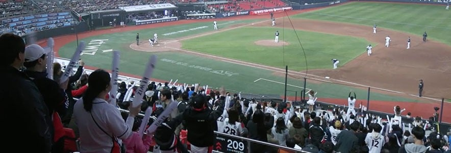 People cheering with kt wiz sign at baseball game