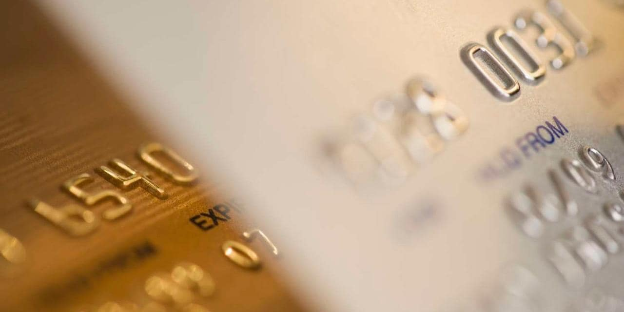 Closeup of credit card