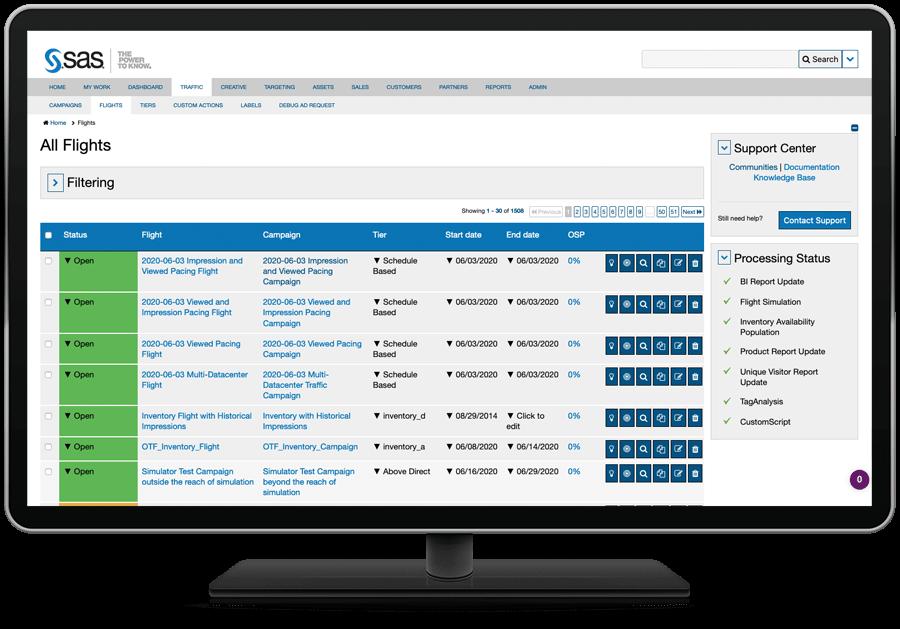 SAS 360 Match showing flights list on desktop monitor