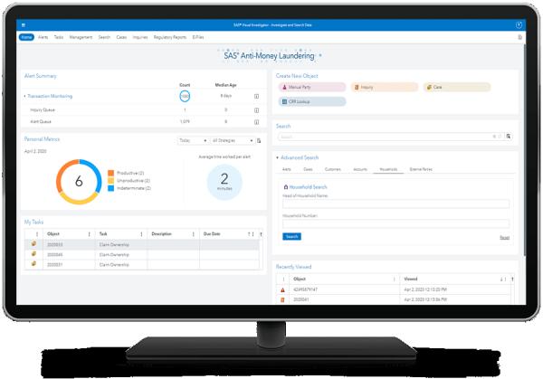 SAS Anti-Money Laundering funds tracker capability displayed on desktop monitor.
