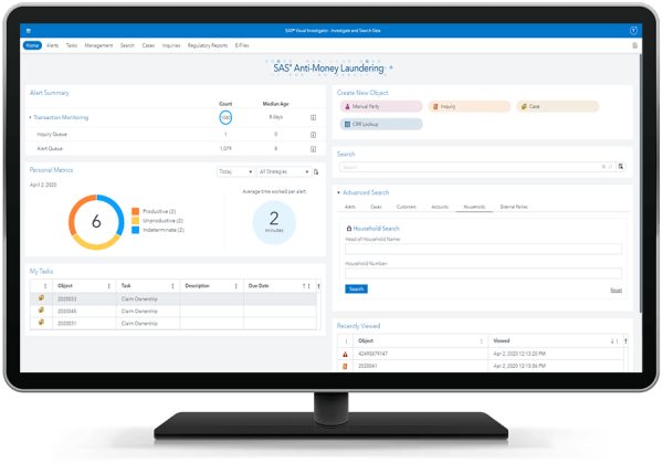 SAS Anti-Money Laundering showing user-friendly alert and case management platform on desktop monitor.