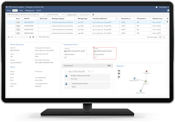 Computer monitor showing SAS Anti-Money Laundering - real time screening