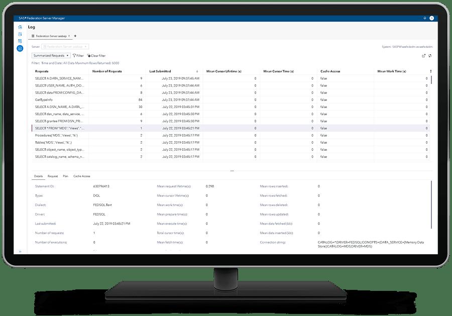 SAS Federation Server shown on desktop monitor