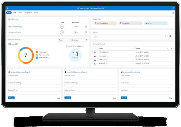 SAS Visual Investigator showing home page on desktop monitor