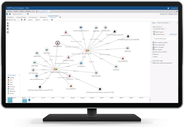 SAS Intelligence and Investigation Management showing map and markers on desktop monitor