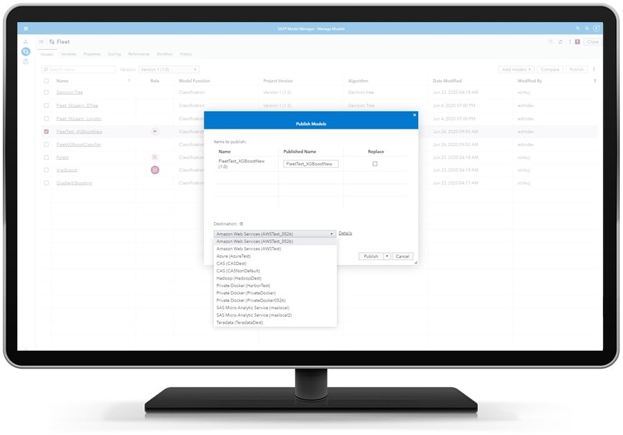SAS Model Manager showing model comparison on desktop monitor