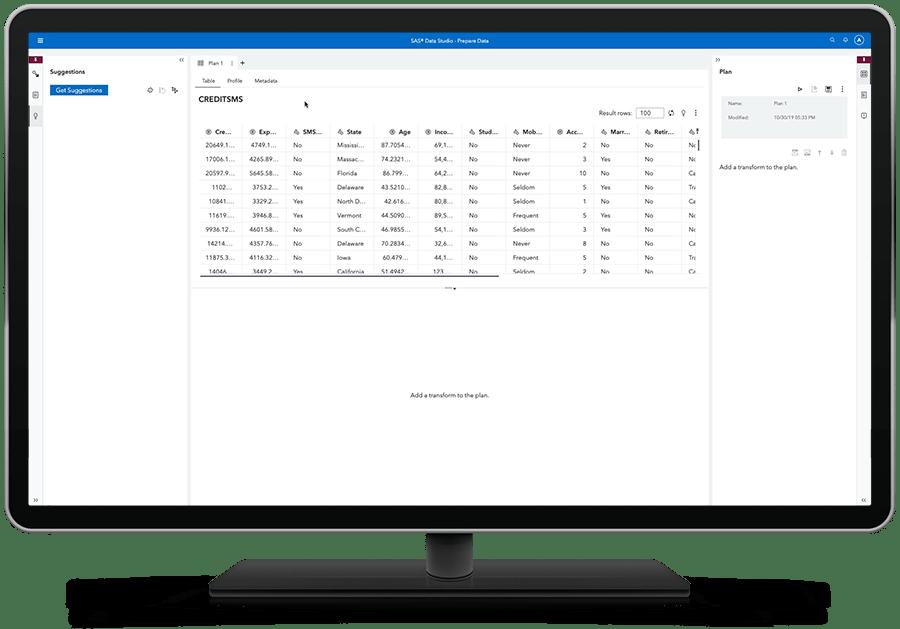 SAS Viya 上的 SAS 視覺化分析顯示自助式資料準備