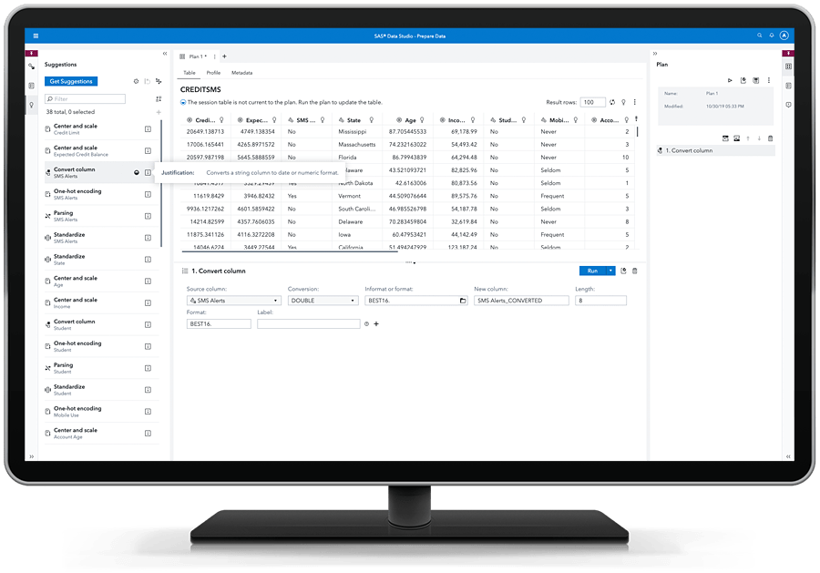 SAS Visual Analytics - suggested data prep