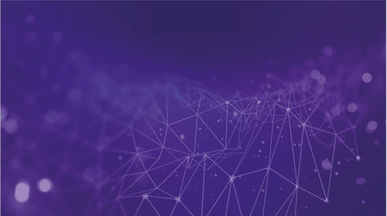 Purple background with white lines forming connections and waves with white dots